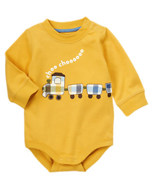Yellow Caboose Choo Choo Train Bodysuit by Gymboree