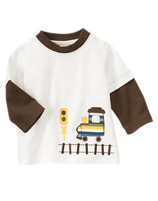 Baby Wheat Heather Train Ringer Tee by Gymboree