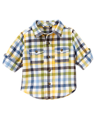 Baby Train Blue Plaid Plaid Flannel Shirt by Gymboree