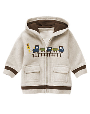 Baby Wheat Heather Train Hoodie by Gymboree