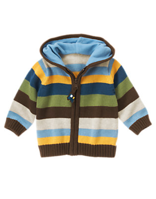 Boxcar Brown Stripe Stripe Sweater Hoodie by Gymboree