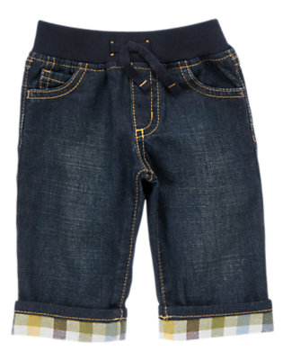 Baby Denim Plaid Cuff Denim Pant by Gymboree