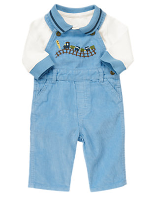 Baby White/Train Blue Train Overall Two-Piece Set by Gymboree