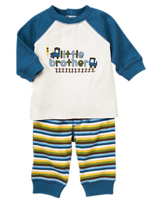 Baby White/Train Blue Little Brother Train Two-Piece Set by Gymboree