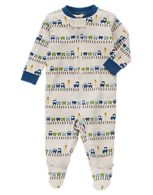 Wheat Heather Train Footed One-Piece by Gymboree