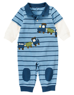 Baby Train Blue Train Double Sleeve Polo One-Piece by Gymboree