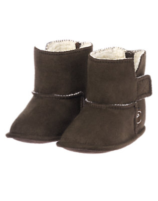 Baby Boxcar Brown Faux Suede Crib Bootie by Gymboree