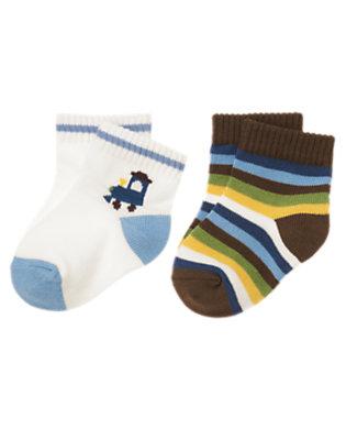 White/Boxcar Brown Stripe Train Stripe Sock Two-Pack by Gymboree