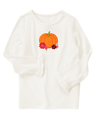 Ivory Pumpkin Flowers Tee by Gymboree