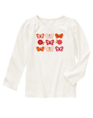 Ivory Gem Butterfly Long Sleeve Tee by Gymboree