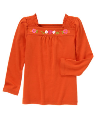 Poppy Orange Embroidered Flower Tee by Gymboree