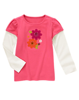 Flutter Pink Flower Double Sleeve Tee by Gymboree