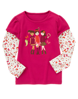 Raspberry Pink Butterfly Girls Double Sleeve Tee by Gymboree