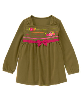 Olive Green Embroidered Flower Swing Top by Gymboree
