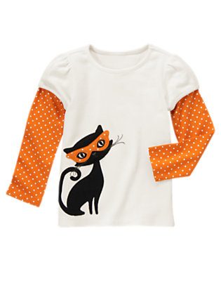 Ivory Halloween Kitty Double Sleeve Tee by Gymboree