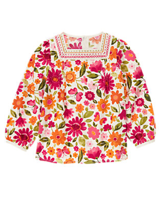 Ivory Floral Embroidered Floral Butterfly Top by Gymboree