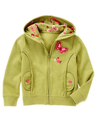 Girls Fern Green Butterfly Fleece Hoodie by Gymboree