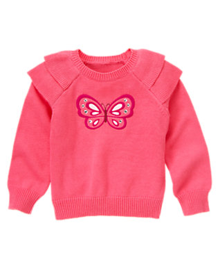 Flutter Pink Butterfly Ruffle Shoulder Sweater by Gymboree