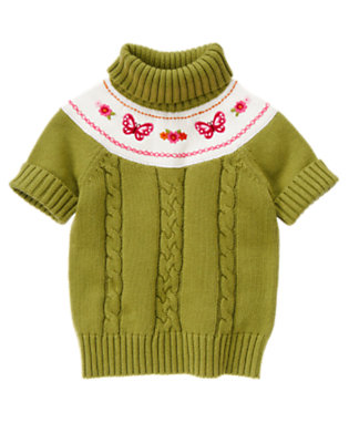 Fern Green Embroidered Butterfly Cable Sweater by Gymboree