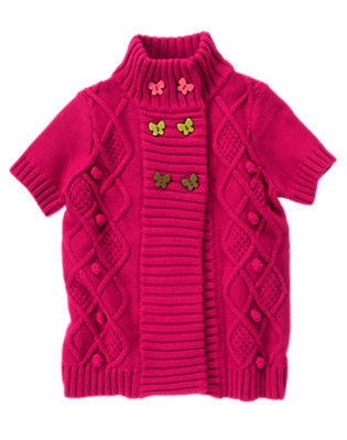 Girls Raspberry Pink Butterfly Button Diamond Knit Sweater by Gymboree
