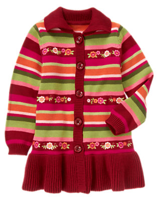 Girls Pomegranate Red Stripe Embroidered Flower Stripe Sweater Duster by Gymboree