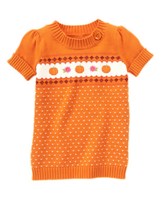 Pumpkin Orange Embroidered Pumpkin Tunic Sweater by Gymboree