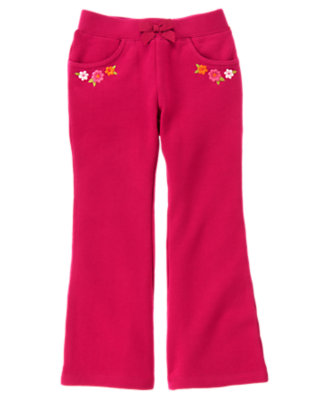 Raspberry Pink Embroidered Flower Fleece Pant by Gymboree