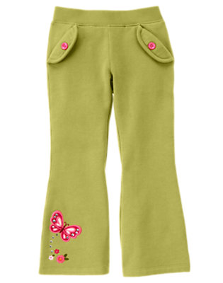 Fern Green Gem Butterfly Fleece Pant by Gymboree