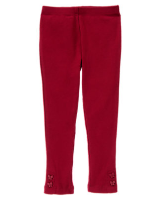 Girls Pomegranate Red Butterfly Button Cuff Legging by Gymboree