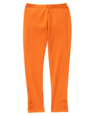 Girls Pumpkin Orange Butterfly Button Cuff Legging by Gymboree