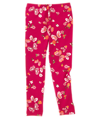 Girls Raspberry Pink Butterfly Butterfly Print Legging by Gymboree