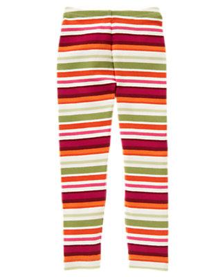 Girls Fern Green Stripe Stripe Legging by Gymboree
