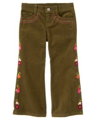 Girls Olive Green Embroidered Flower Corduroy Pant by Gymboree