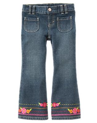 Denim Embroidered Flower Flare Jean by Gymboree