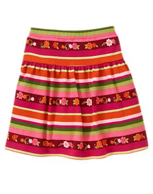 Girls Poppy Orange Stripe Flower Stripe Skort by Gymboree