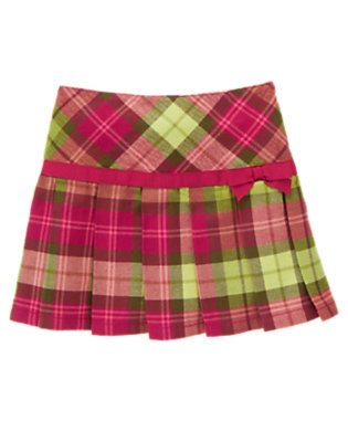 Raspberry Pink Plaid Bow Plaid Pleated Skort by Gymboree