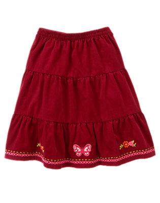 Pomegranate Red Embroidered Butterfly Corduroy Skirt by Gymboree