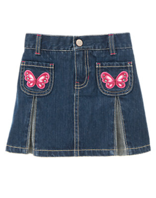 Girls Denim Gem Butterfly Pleated Jean Skort by Gymboree