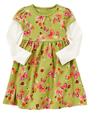 Girls Fern Green Butterfly Butterfly Double Sleeve Dress by Gymboree