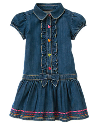 Girls Denim Butterfly Button Ruffle Denim Dress by Gymboree