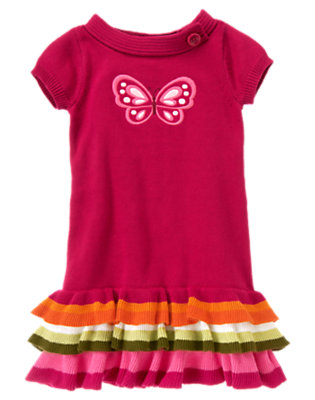 Girls Raspberry Pink Embroidered Butterfly Sweater Dress by Gymboree