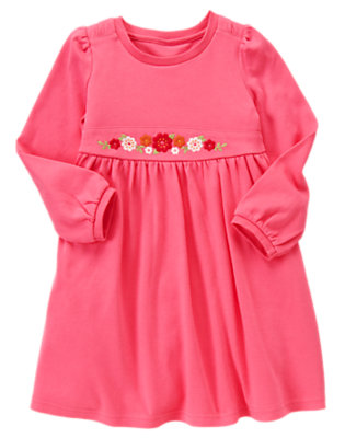 Girls Flutter Pink Embroidered Flower Dress by Gymboree