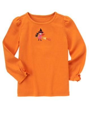 Pumpkin Orange Embroidered Witch Tee by Gymboree