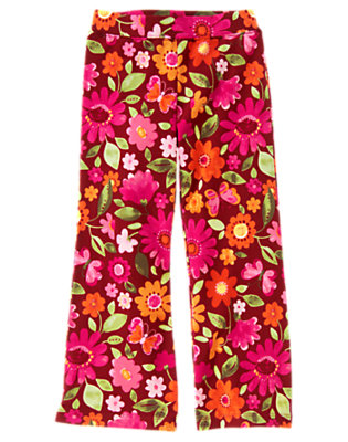 Girls Pomegranate Red Floral Floral Flare Pant by Gymboree