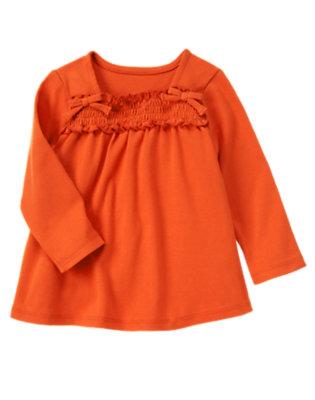 Pumpkin Orange Smocked Long Sleeve Top by Gymboree