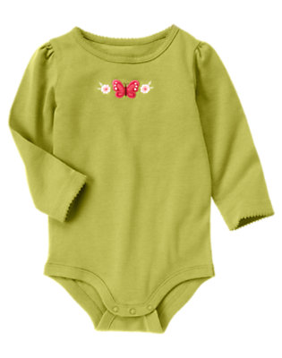 Fern Green Butterfly Flower Bodysuit/Tee Shirt by Gymboree