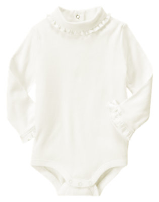 Ivory Ruffle Turtleneck Bodysuit/Tee Shirt by Gymboree