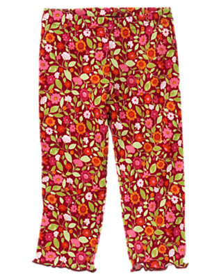 Toddler Girls Pomegranate Red Floral Floral Legging by Gymboree