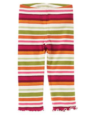 Fern Green Stripe Stripe Legging by Gymboree
