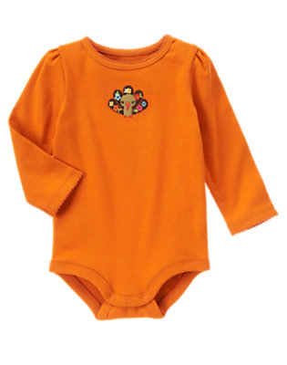 Harvest Orange Flower Turkey Bodysuit/Tee Shirt by Gymboree